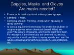 goggles masks and gloves are masks needed