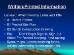 written printed information