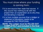 you must show where your funding is coming from