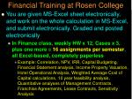 financial training at rosen college