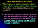value rate of return and growth