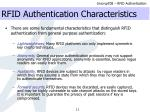 rfid authentication characteristics