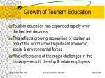 growth of tourism education