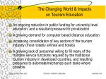 the changing world impacts on tourism education