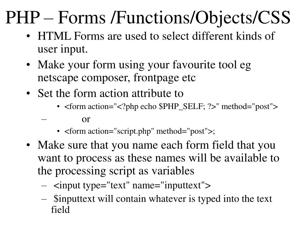 php forms functions objects css l.