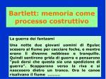 bartlett memoria come processo costruttivo