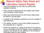 material safety data sheet and laboratory hazard register