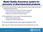 model quality assurance system for procurers of pharmaceutical products