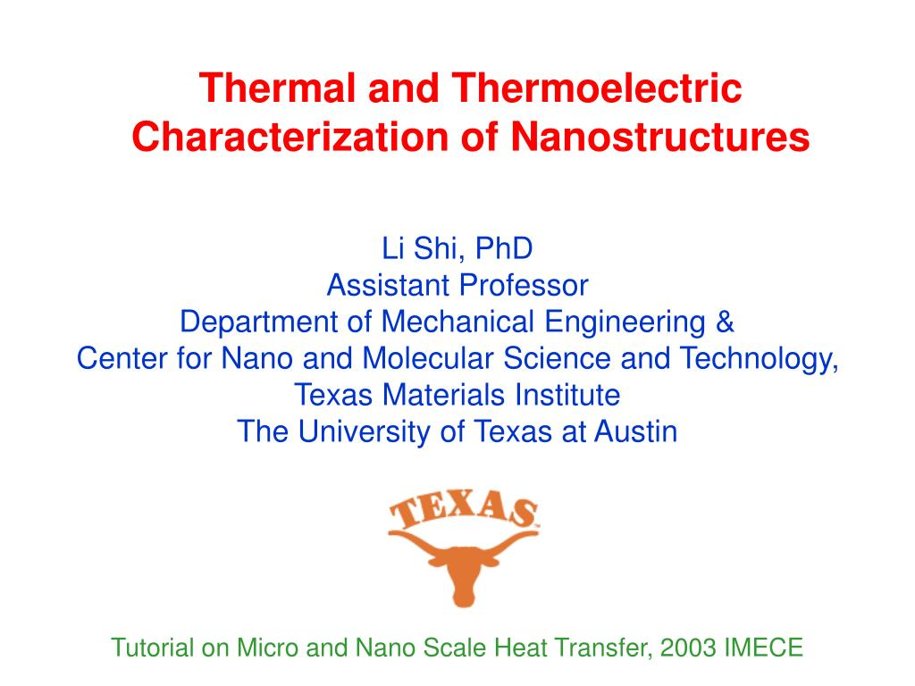 thermal and thermoelectric characterization of nanostructures l.