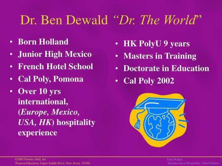 Dr ben dewald dr the world