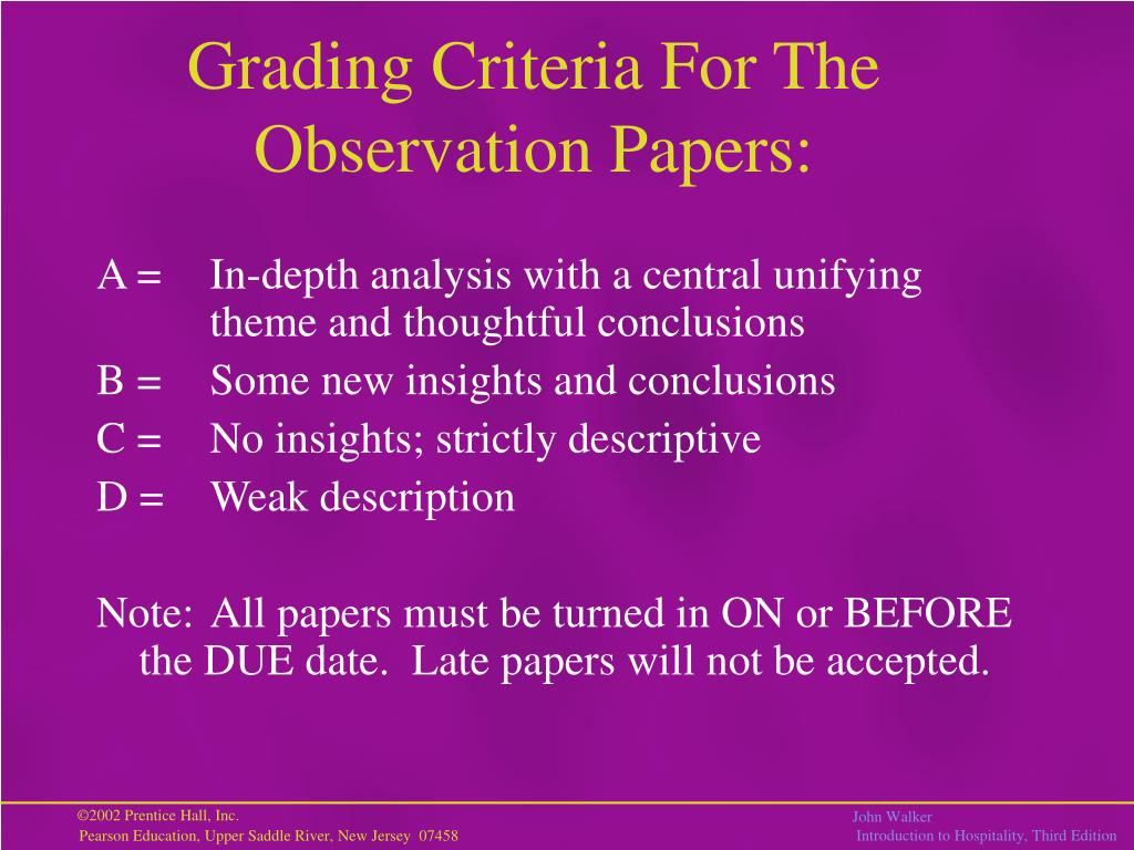 Grading Criteria For The Observation Papers: