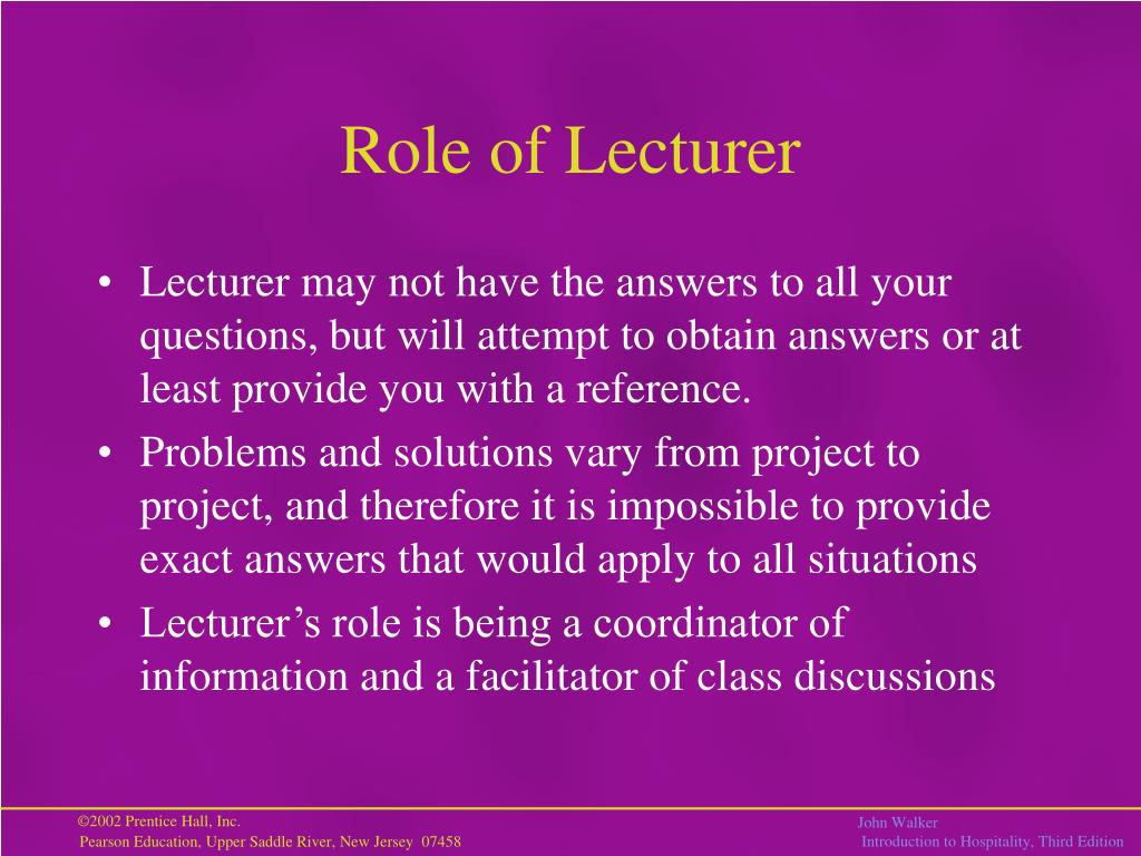 Role of Lecturer