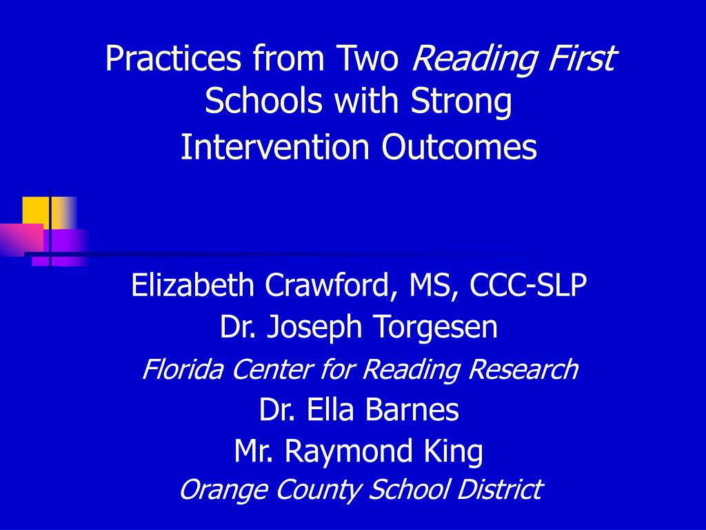practices from two reading first schools with strong intervention outcomes l.