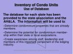 inventory of condo units use of database