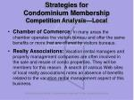 strategies for condominium membership competition analysis local50