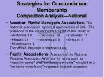 strategies for condominium membership competition analysis national