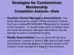strategies for condominium membership competition analysis state