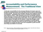accountability and performance measurement the traditional view