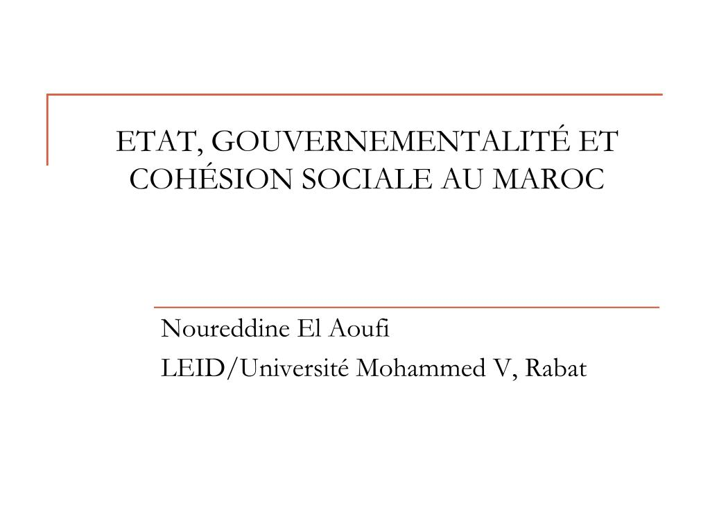 etat gouvernementalit et coh sion sociale au maroc l.