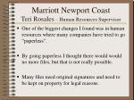 marriott newport coast teri rosales human resources supervisor