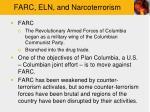 farc eln and narcoterrorism