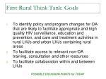 first rural think tank goals