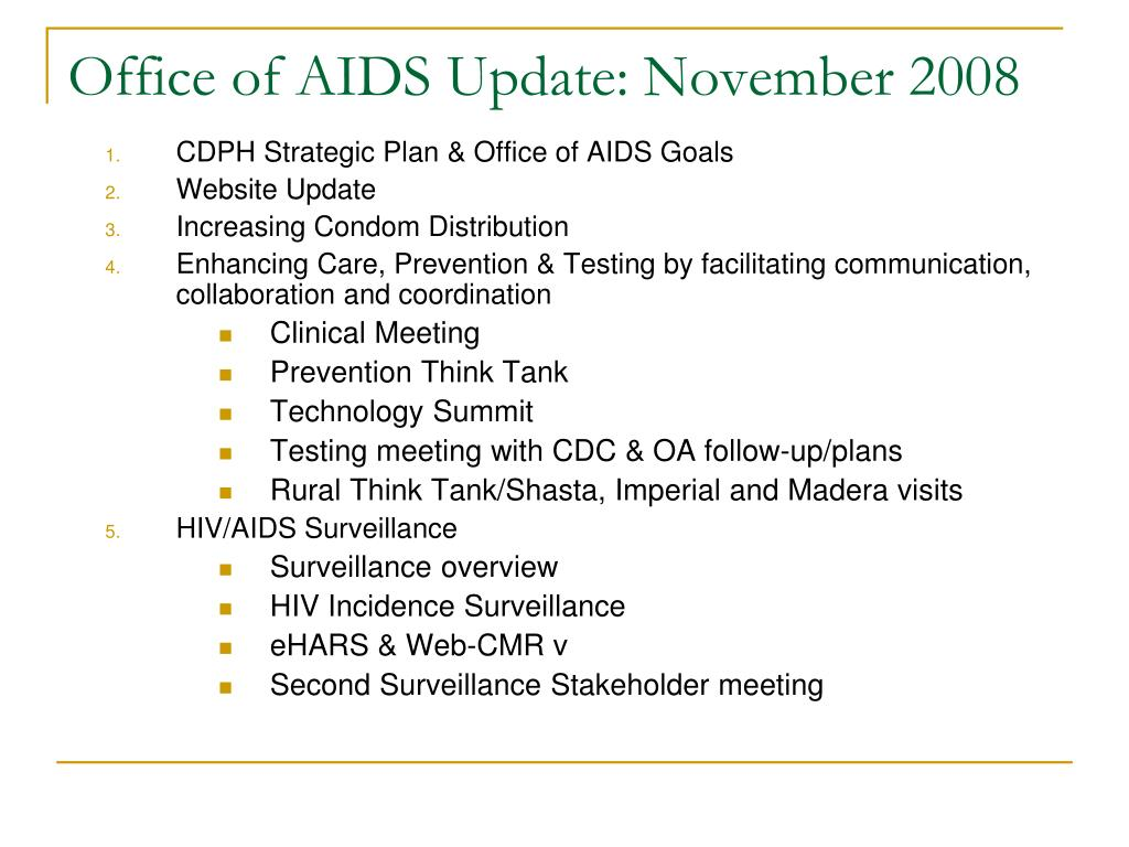 office of aids update november 2008 l.