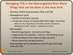 managing tds in the monongahela river basin things that can be done in the near term