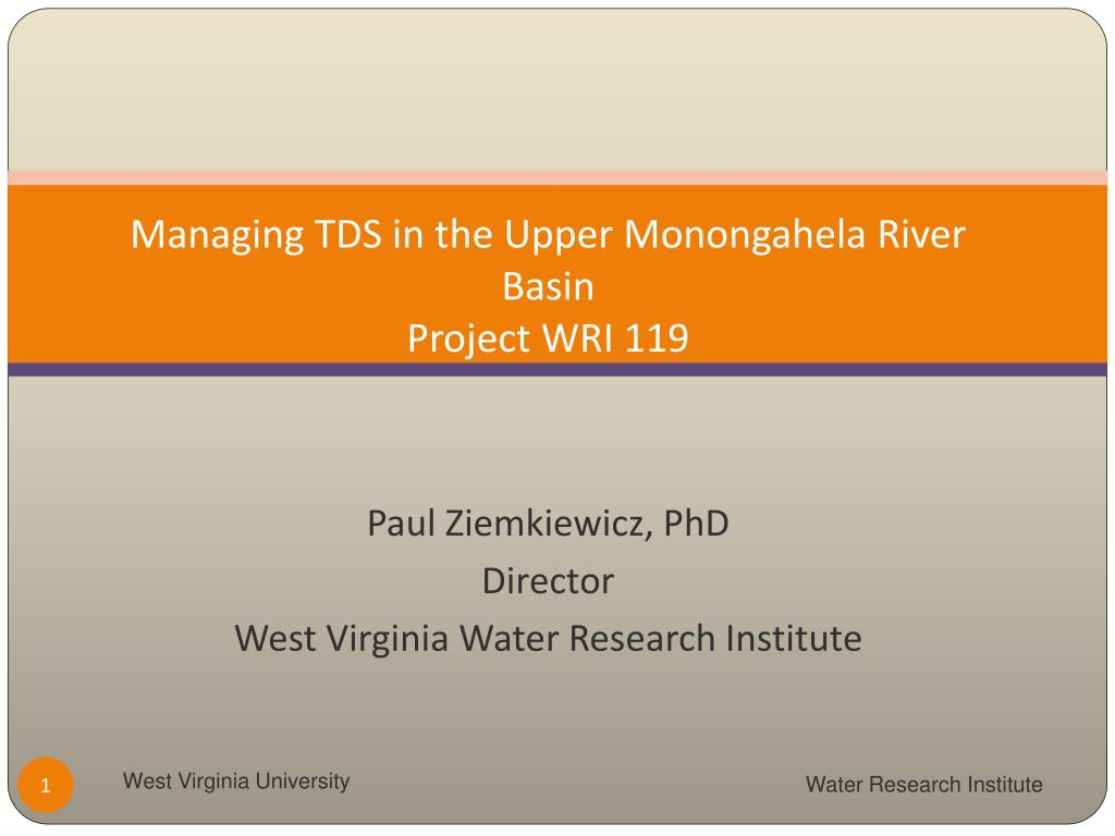 managing tds in the upper monongahela river basin project wri 119 l.