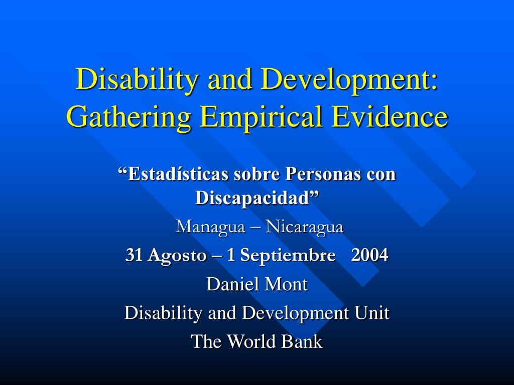 disability and development gathering empirical evidence l.