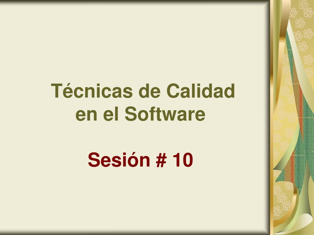 t cnicas de calidad en el software sesi n 10 l.