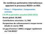 de nombreux partenaires internationaux appuient le processus redd en rdc