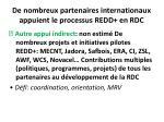 de nombreux partenaires internationaux appuient le processus redd en rdc27