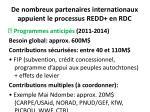 de nombreux partenaires internationaux appuient le processus redd en rdc28