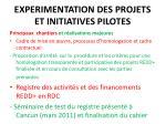 experimentation des projets et initiatives pilotes
