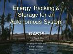 energy tracking storage for an autonomous system