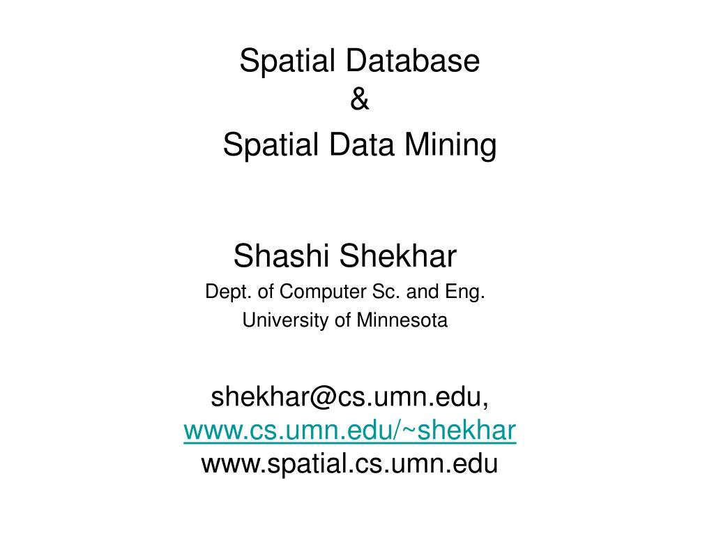 spatial database spatial data mining l.