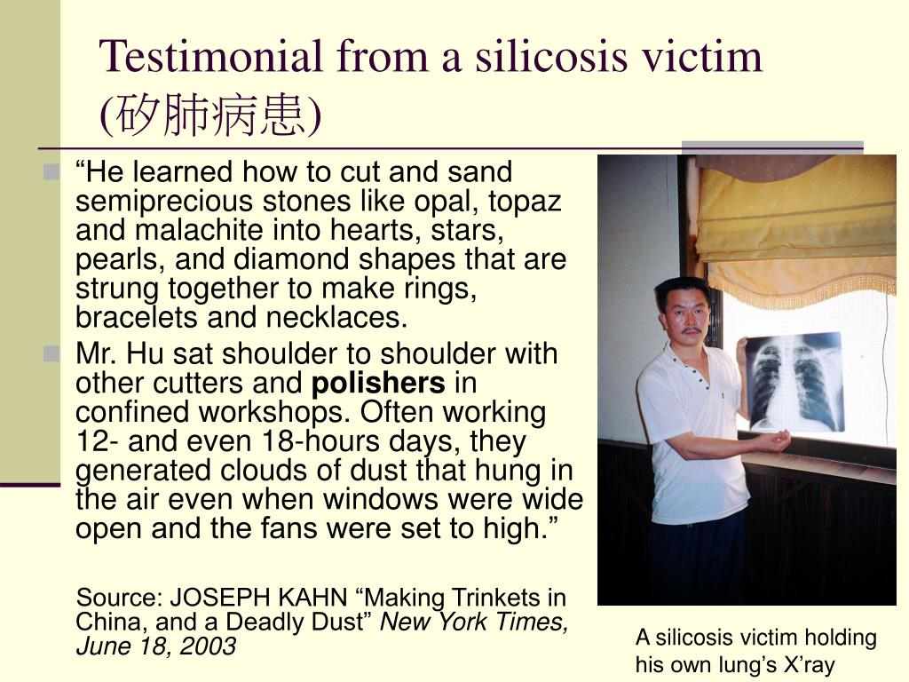 Testimonial from a silicosis victim