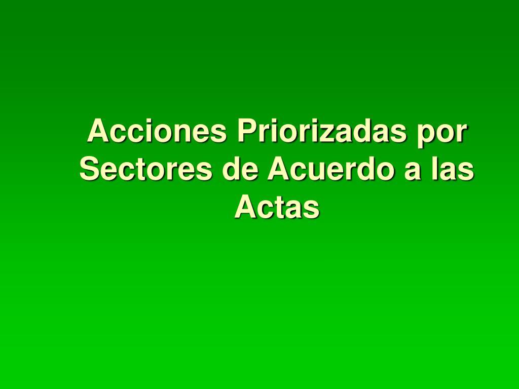acciones priorizadas por sectores de acuerdo a las actas l.