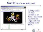 mutdb http www mutdb org