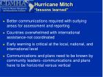 hurricane mitch lessons learned10