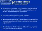 hurricane mitch lessons learned12