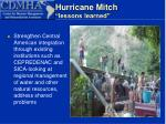 hurricane mitch lessons learned15