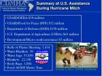 summary of u s assistance during hurricane mitch