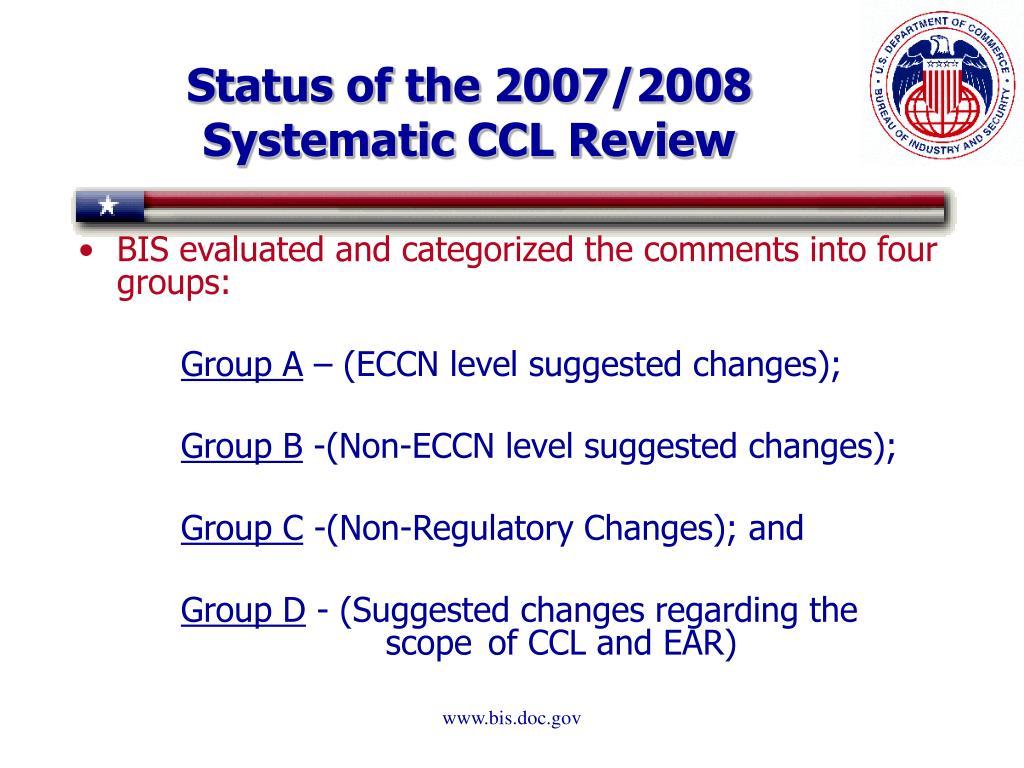 Status of the 2007/2008 Systematic CCL Review
