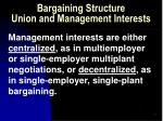 bargaining structure union and management interests33