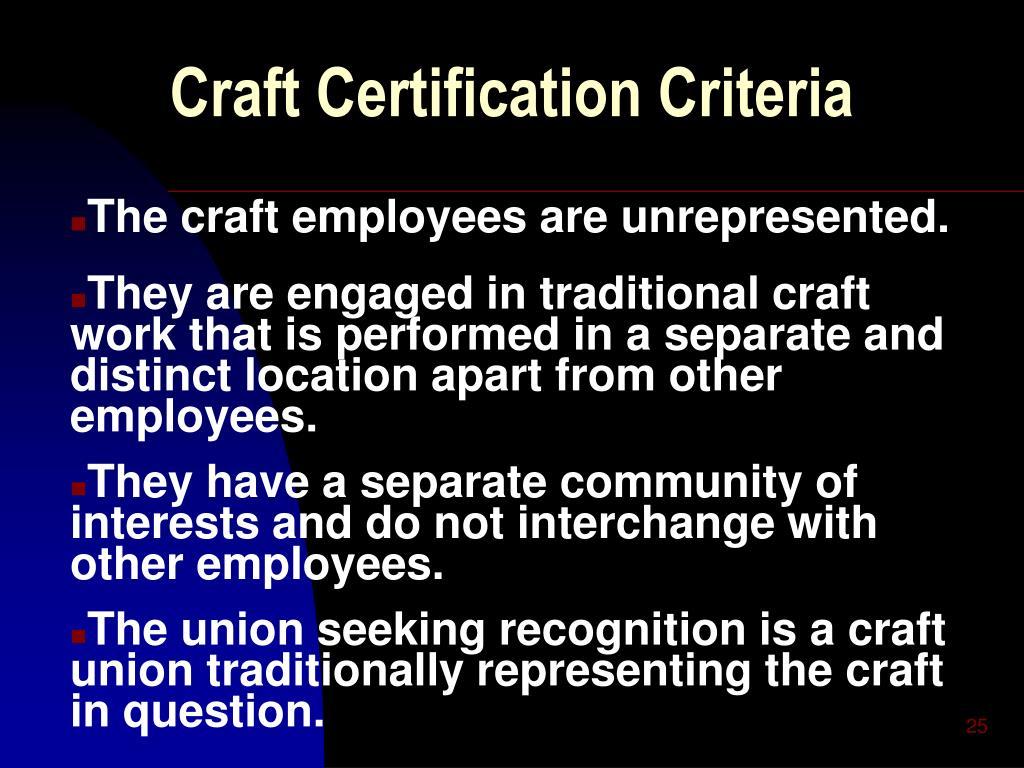 Craft Certification Criteria