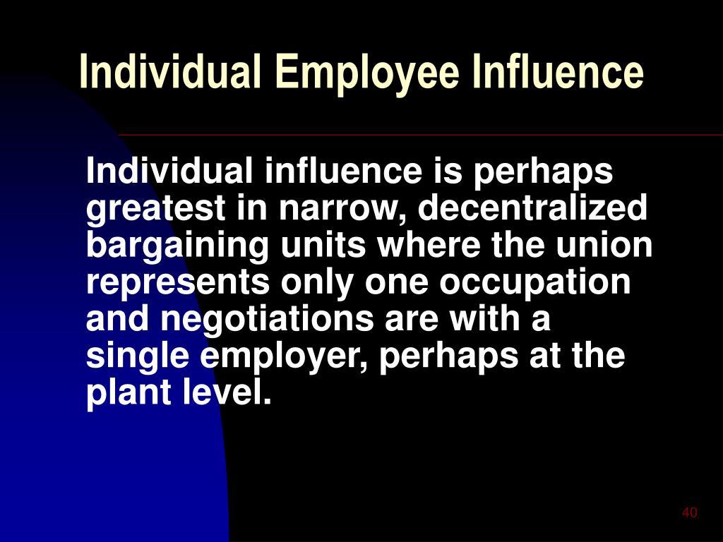 Individual Employee Influence