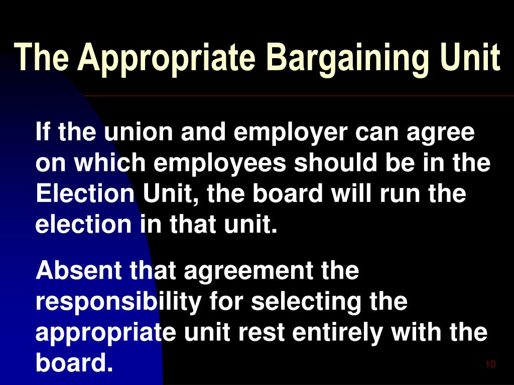 The Appropriate Bargaining Unit