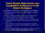 using market opportunity and competitive analyses to craft global strategies21